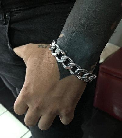 Bracciale artigianale uomo catena metallo e ancora