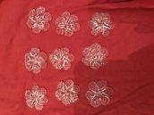 Rosette , pezzi di ricambio per specchi Veneziani e non , con pezzi rotti, in vetro soffiato di Murano, color trasparente, diametro 3,5 cm, con foro centrale per essere attaccate