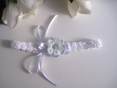 Fascia fascetta per capelli neonata uncinetto bianca / azzurra fatta a mano nascita battesimo cerimonia cotone handmade crochet