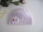 Cappellino neonata uncinetto cotone melange bianco - rosa tenue - lilla nascita bambina