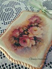 Quadretto in legno shabby chic vintage con rose per la casa