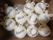 Palline di natale con nome in bianco Panna e marroncino glitter