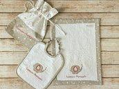 SET ASILO personalizzato con nome e disegno: sacca + bavaglino + asciugamani