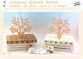 Bomboniera Cassetta con albero della vita  in legno e 24 astucci porta confetti