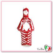 Cover Babbo Natale per bottiglie di vino all'uncinetto