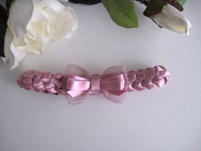 Fascia fascetta neonata intreccio raso fiocco rosa antico