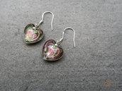 Orecchini pendenti a cuore con perle in vetro, monachella in argento 925