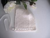 Cuffietta cuffia cappellino neonata lana merino panna avorio fatta a mano idea regalo corredino nascita cerimonia battesimo uncinetto handmade crochet