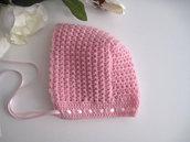 Cuffietta cuffia cappellino neonata lana merino rosa fatto a mano idea regalo corredino nascita cerimonia battesimo uncinetto handmade crochet