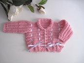 Golfino maglioncino neonata uncinetto lana merino color rosa raso bianco idea regalo corredino nascita battesimo cerimonia handmade crochet