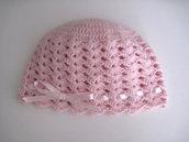 Cappellino neonata uncinetto lana color rosa chiaro fatto a mano idea regalo corredino nascita handmade crochet