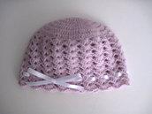 Cappellino neonata neonato unisex uncinetto lana color lilla fatto a mano idea regalo corredino nascita handmade crochet
