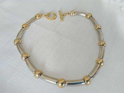 OFFERTA!!! Collana in metallo dorato bicolore,  vintage anni 70 /80