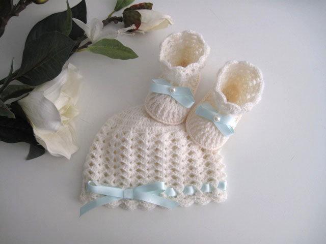 Set coordinato cappellino scarpine neonato neonata uncinetto unisex color  panna fiocco azzurro fatto a mano idea cf61e7566087
