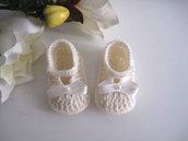 Scarpine scarpette neonata neonato uncinetto color panna fatte a mano lana idea regalo corredino nascita battesimo cerimonia handmade crochet
