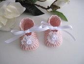 Scarpine neonata uncinetto battesimo cerimonia nascita rosa cipria bianco fatte a mano cotone idea regalo