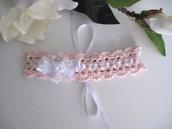 Fascetta fascia capelli neonata uncinetto rosa cipria battesimo nascita cerimonia cotone fatta a mano