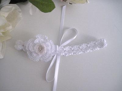 Fascia fascetta per capelli neonata uncinetto bianca fiore bianco fatta a mano nascita battesimo cerimonia cotone handmade crochet