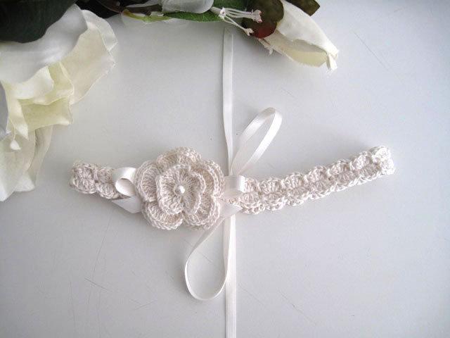 Fascia fascetta per capelli neonata uncinetto color cremino fatta a mano nascita battesimo cerimonia cotone handmade crochet