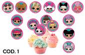 Topper per cupcake L.O.L. Surprise per feste di compleanno