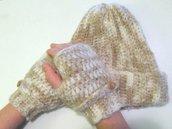 Set in lana berretto e guanti - cuffia in lana - guanti senza dita - berretto uncinetto
