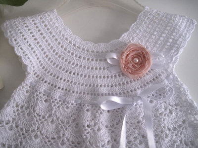 Vestito Vestitino Neonata Uncinetto Bianco Fiore Rosa Tenue Battesi