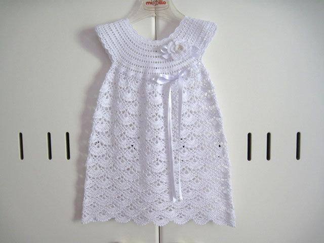 Vestito Vestitino Neonata Uncinetto Bianco Battesimo Cerimonia Corr