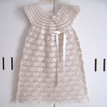 Vestito vestitino neonata uncinetto color crema battesimo cerimonia corredino nascita fatto a mano cotone dress handmade crochet