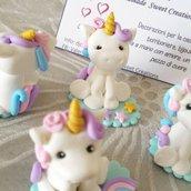 Unicorno bomboniera mini cake topper