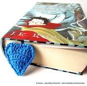 segnalibro cuore azzurro uncinetto - Blue Heart Crochet Bookmark - FREE SHIPPING
