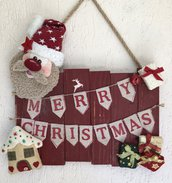 Targa Merry Christmas con babbo Natale