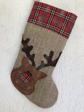calza di Natale in juta con renna