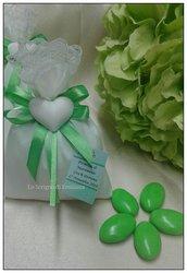 Bomboniera sacchetto portaconfetti Promessa di Matrimonio, Matrimonio, Anniversario con gessetto profumato