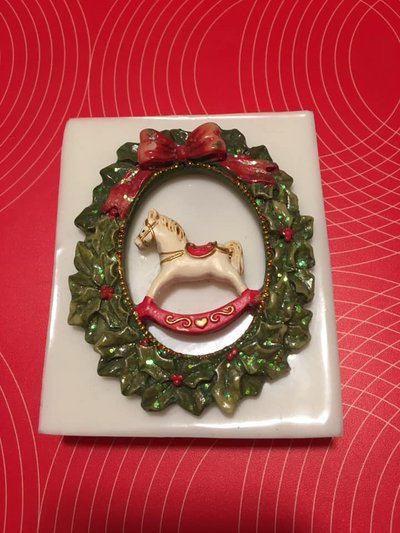Stampo silicone Ghirlanda con cavallino Natale cm.9