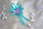 Segnaposto gessetto Tema Love viola   raso color Tiffany