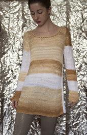 maglia in cotone e seta, unica, colore bianco striato nocciola- UnicOrn
