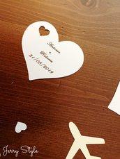 Bigliettini matrimonio a cuore con buchetto a cuore