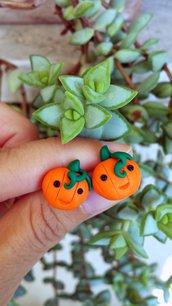 Orecchini zucca in fimo per halloween