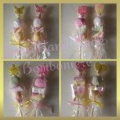 Spiedini di caramelle decorati con nome inciso