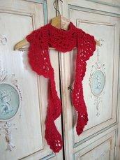Sciarpa romantica uncinetto donna lunga colore rosso a ventagli lana mohair