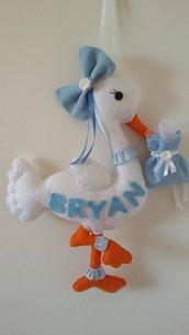 Inserzione riservata relatica a fiocco nascita cicogna azzurra con nome Bryan