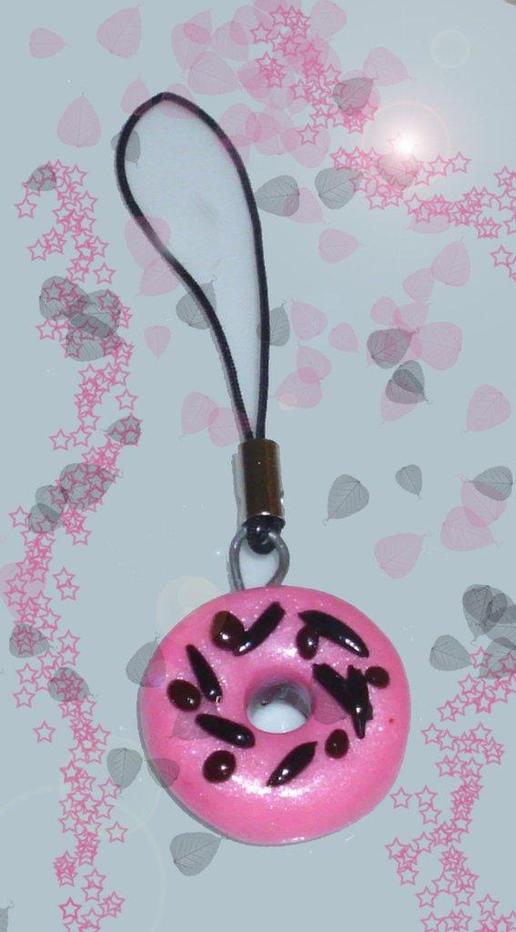 Phone strap in cernit, ciambella pink