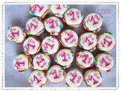 Minicake colorate per festeggiare il 1° compleanno. In pasta di mais.