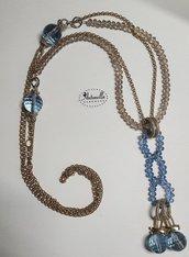 Collana lunga oro e pietre azzurre