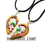 Collana Doppia - Coppia - Con mezzo cuore a forma di pizza margherita - miniature kawaii handmade