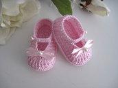 Scarpine neonata uncinetto rosa fiocco rosa fatte a mano cerimonia nascita battesimo idea regalo cotone handmade uncinetto