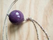 Collana con perla viola in legno dipinta a mano