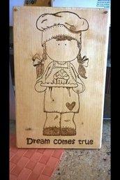 targa in legno pirografata