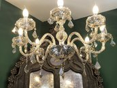 Catena, braccio, gocce e foglie, pezzi di ricambio per lampadari Venini con pezzi rotti, in vetro di Murano