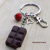 Portachiavi tavoletta di cioccolato con morso in fimo